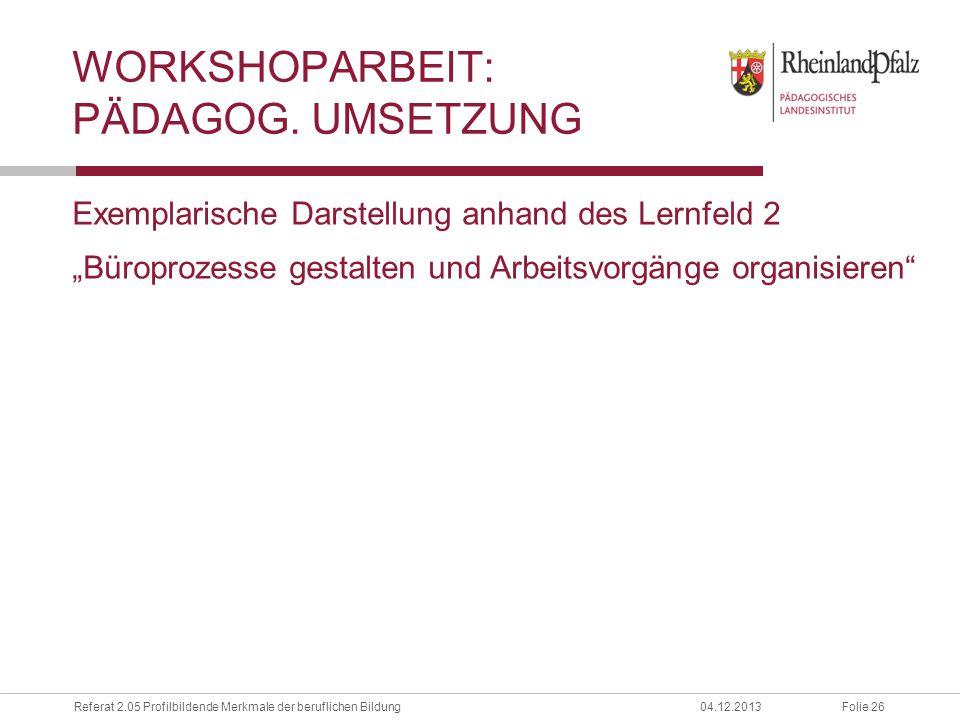 Workshoparbeit: pädagog. umsetzung