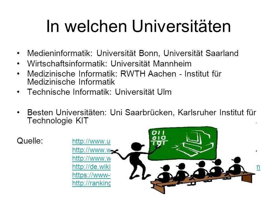 In welchen Universitäten