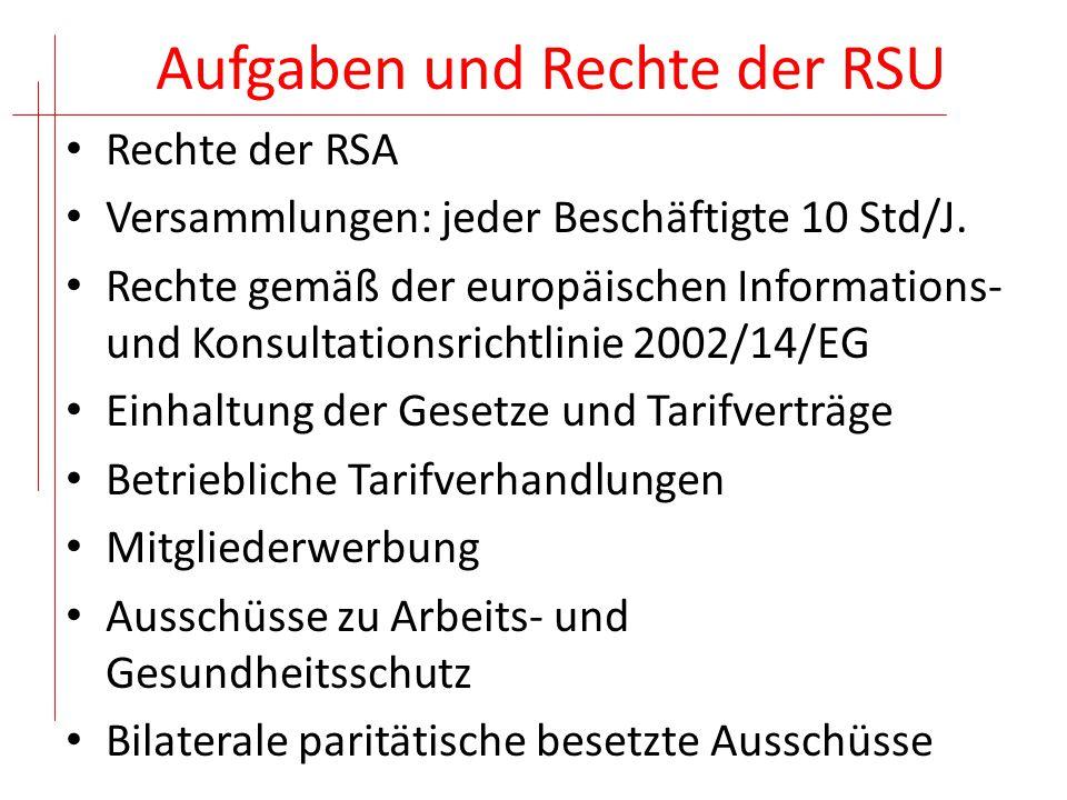 Aufgaben und Rechte der RSU