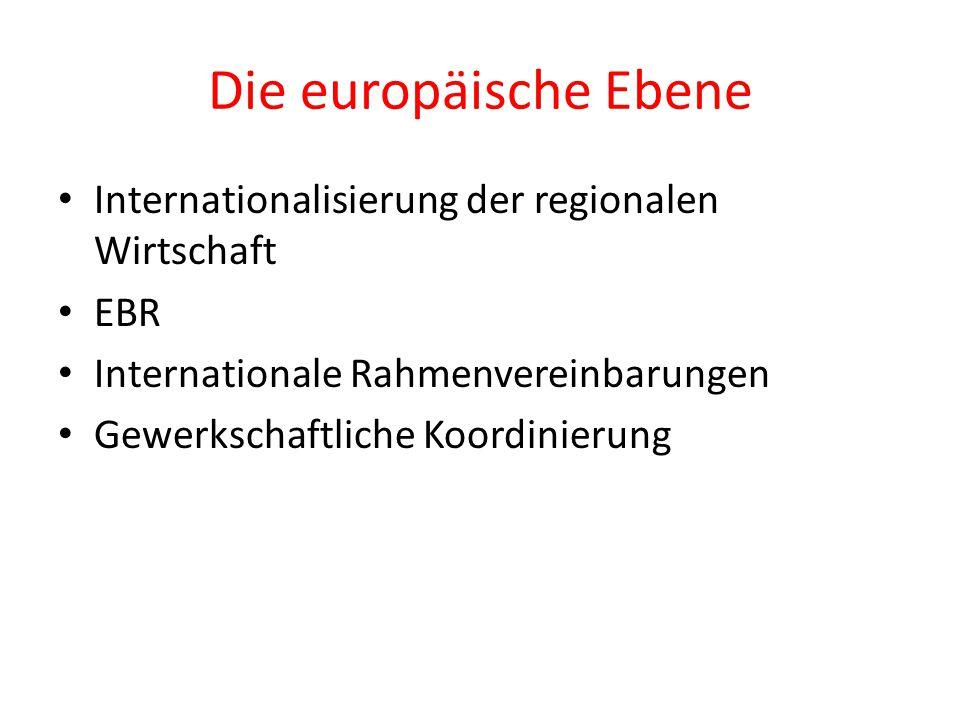 Die europäische Ebene Internationalisierung der regionalen Wirtschaft