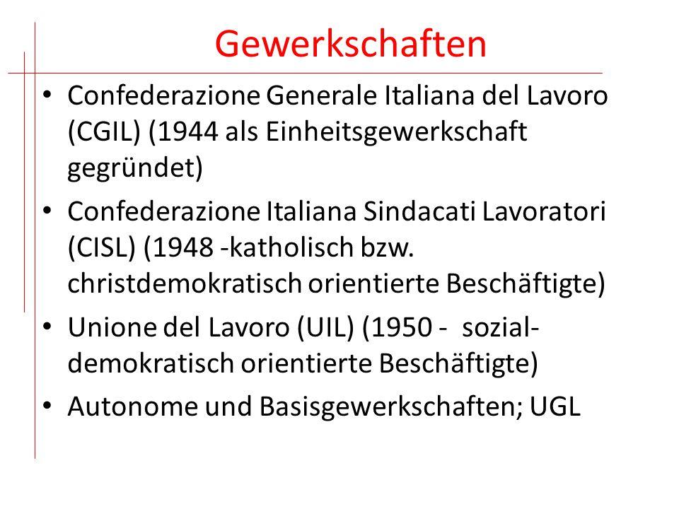 Gewerkschaften Confederazione Generale Italiana del Lavoro (CGIL) (1944 als Einheitsgewerkschaft gegründet)