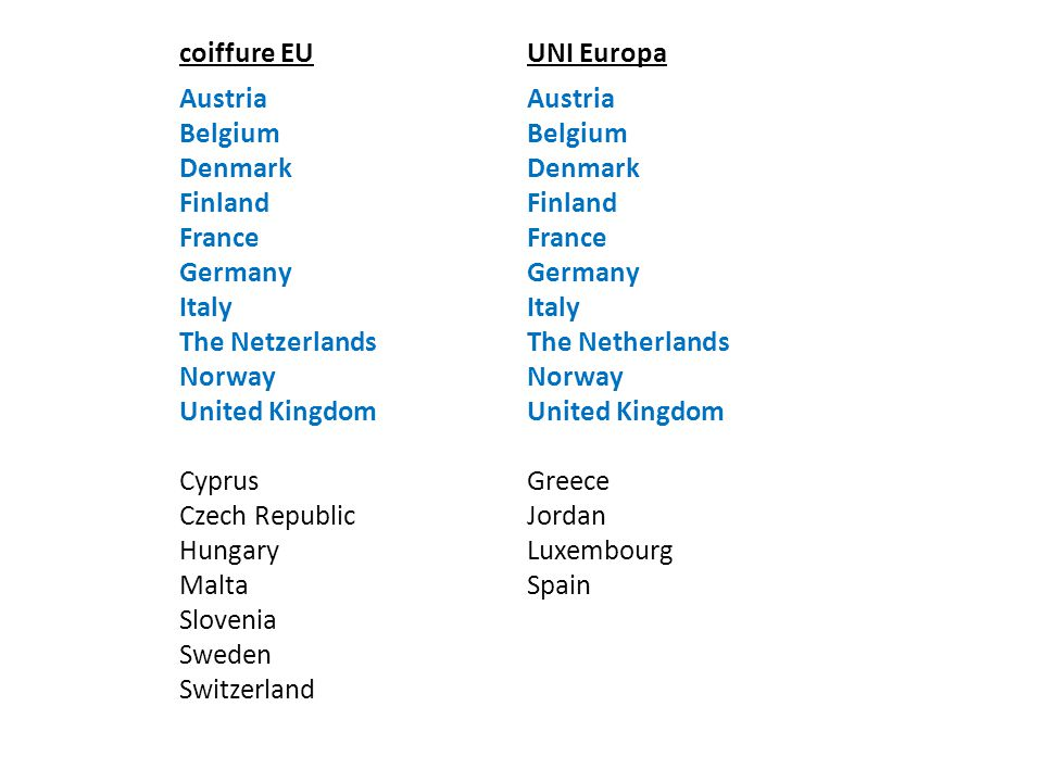 coiffure EU UNI Europa. Austria. Belgium. Denmark. Finland. France. Germany. Italy. The Netzerlands.