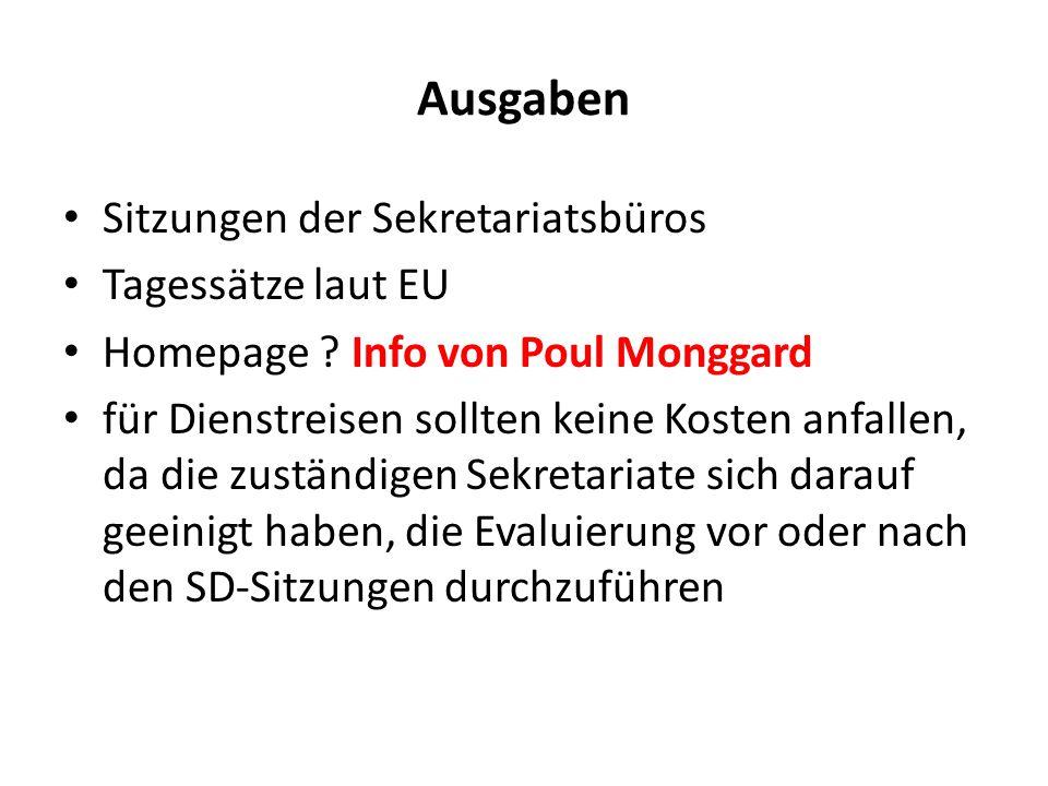 Ausgaben Sitzungen der Sekretariatsbüros Tagessätze laut EU