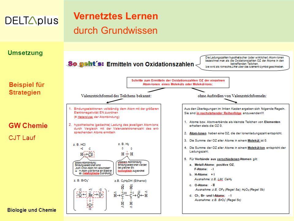 Vernetztes Lernen durch Grundwissen GW Chemie Umsetzung