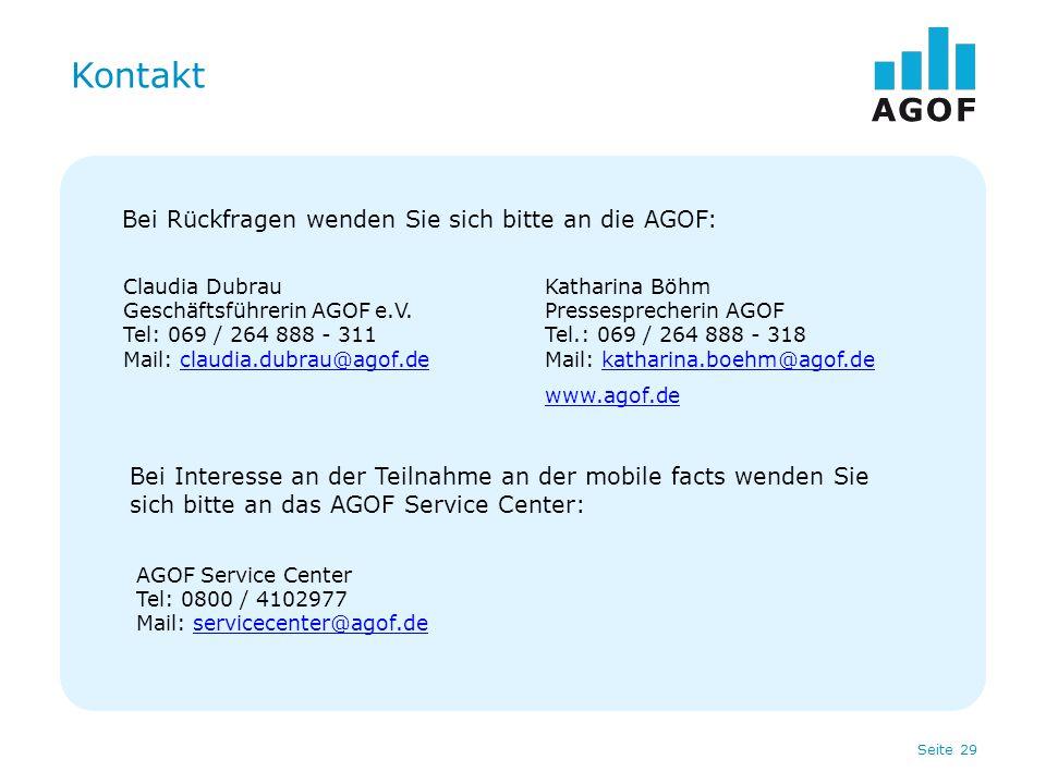 Kontakt Bei Rückfragen wenden Sie sich bitte an die AGOF: