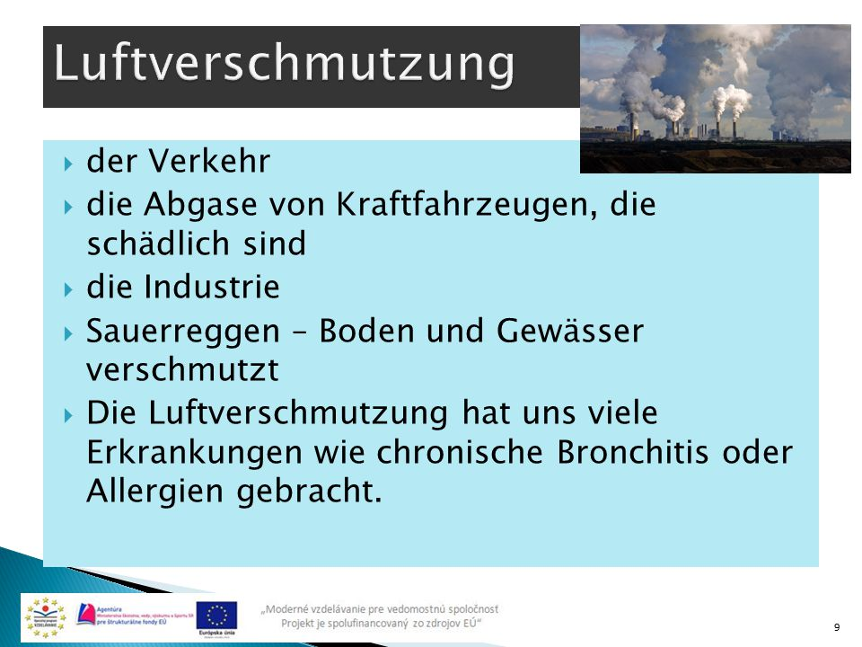 Luftverschmutzung der Verkehr