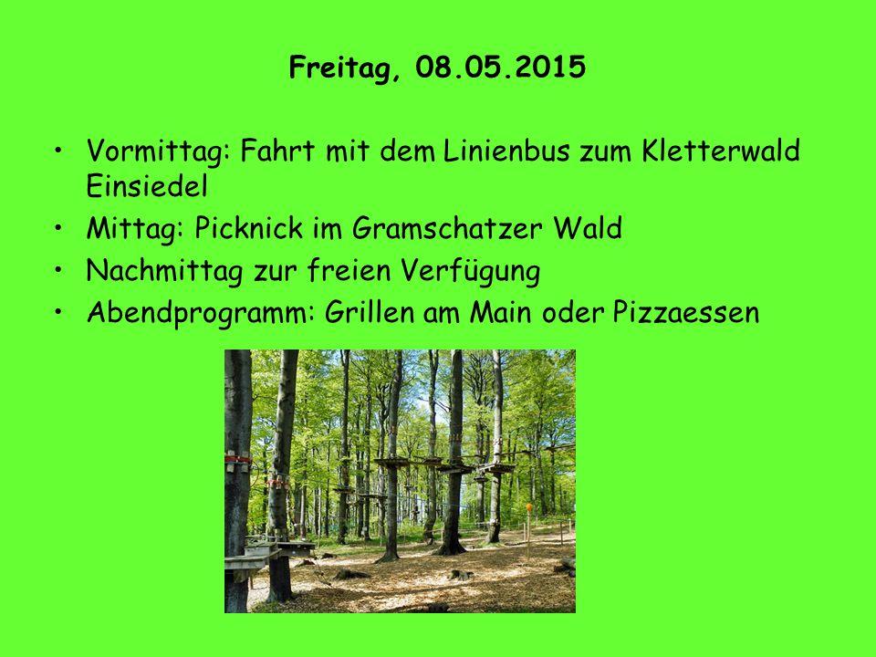 Freitag, 08.05.2015 Vormittag: Fahrt mit dem Linienbus zum Kletterwald Einsiedel. Mittag: Picknick im Gramschatzer Wald.