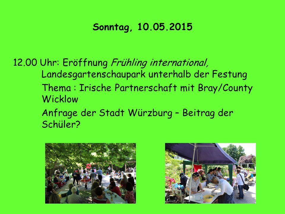Sonntag, 10.05.2015 12.00 Uhr: Eröffnung Frühling international, Landesgartenschaupark unterhalb der Festung.