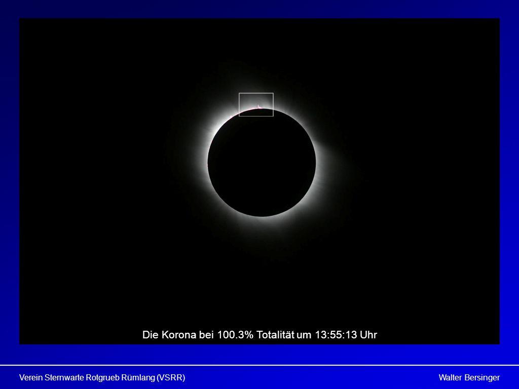 Die Korona bei 100.3% Totalität um 13:55:13 Uhr