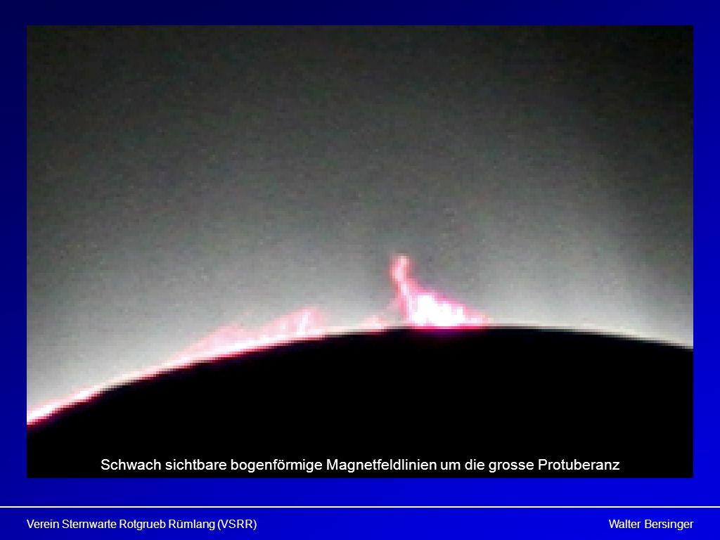 Schwach sichtbare bogenförmige Magnetfeldlinien um die grosse Protuberanz