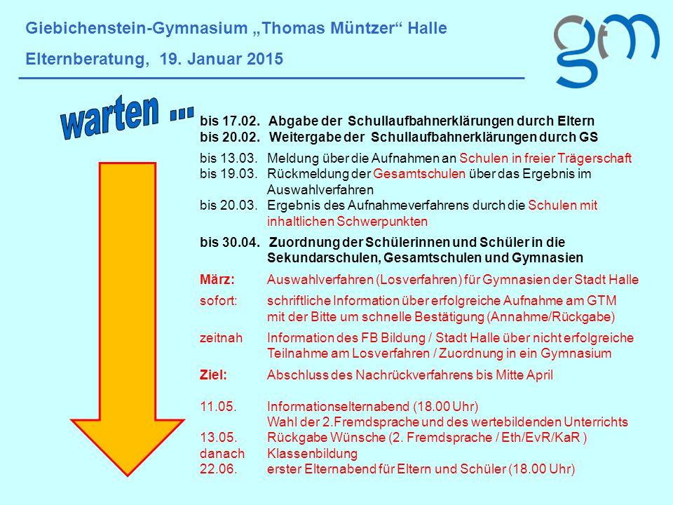 """warten … Giebichenstein-Gymnasium """"Thomas Müntzer Halle"""