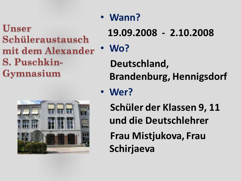 Unser Schüleraustausch mit dem Alexander S. Puschkin-Gymnasium