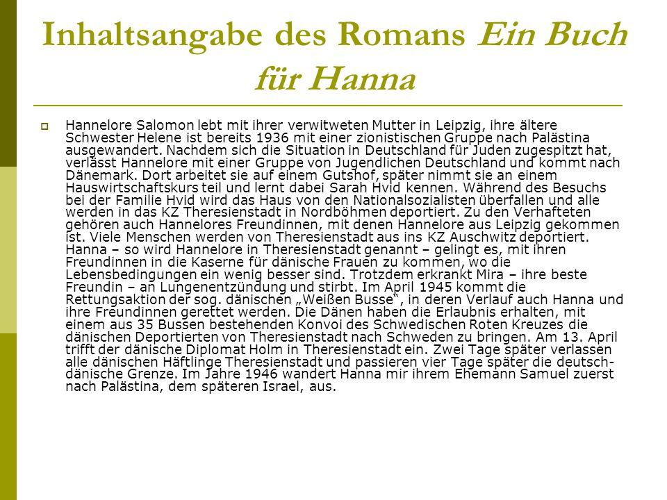 Inhaltsangabe des Romans Ein Buch für Hanna