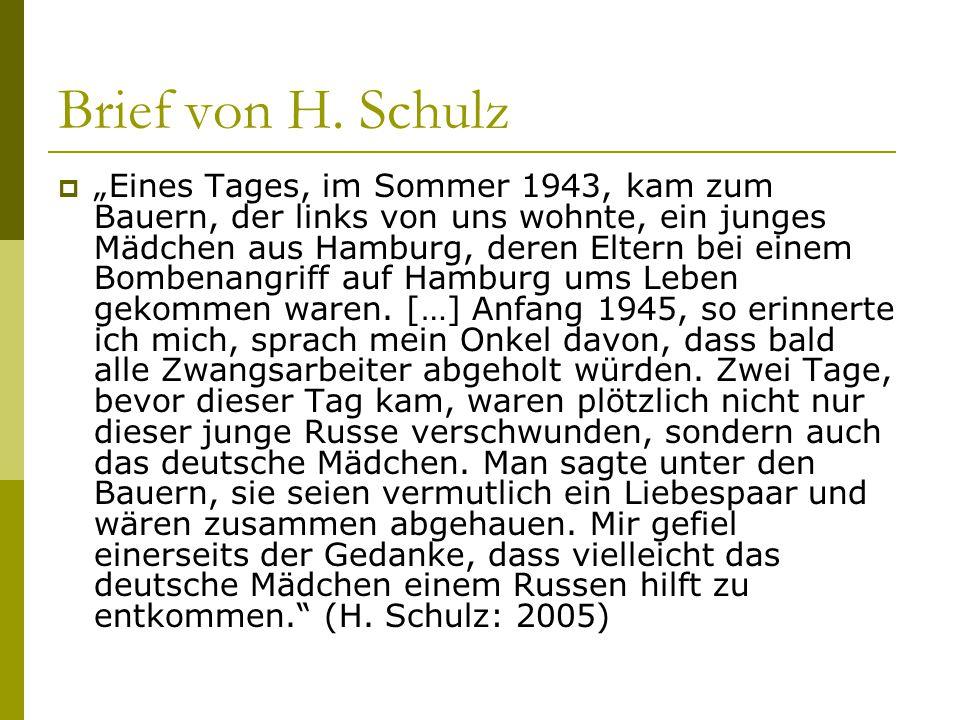 Brief von H. Schulz
