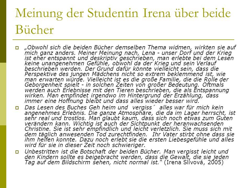 Meinung der Studentin Irena über beide Bücher