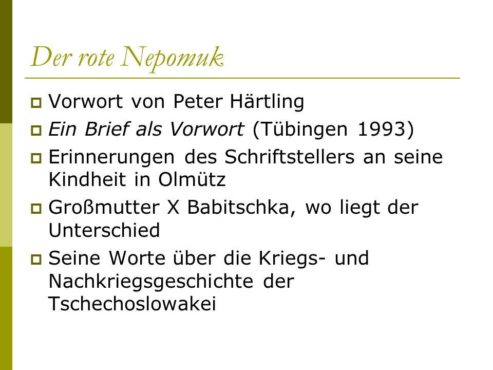 Der rote Nepomuk Vorwort von Peter Härtling