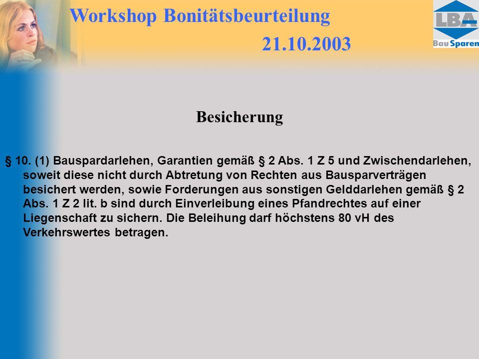 Workshop Bonitätsbeurteilung 21.10.2003