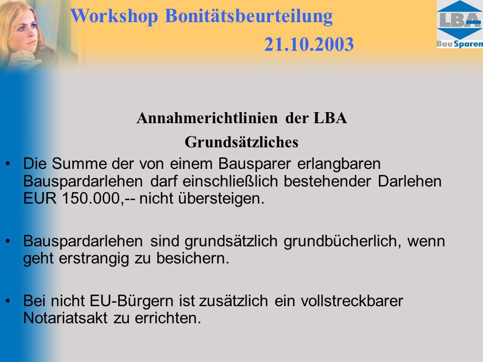 Annahmerichtlinien der LBA
