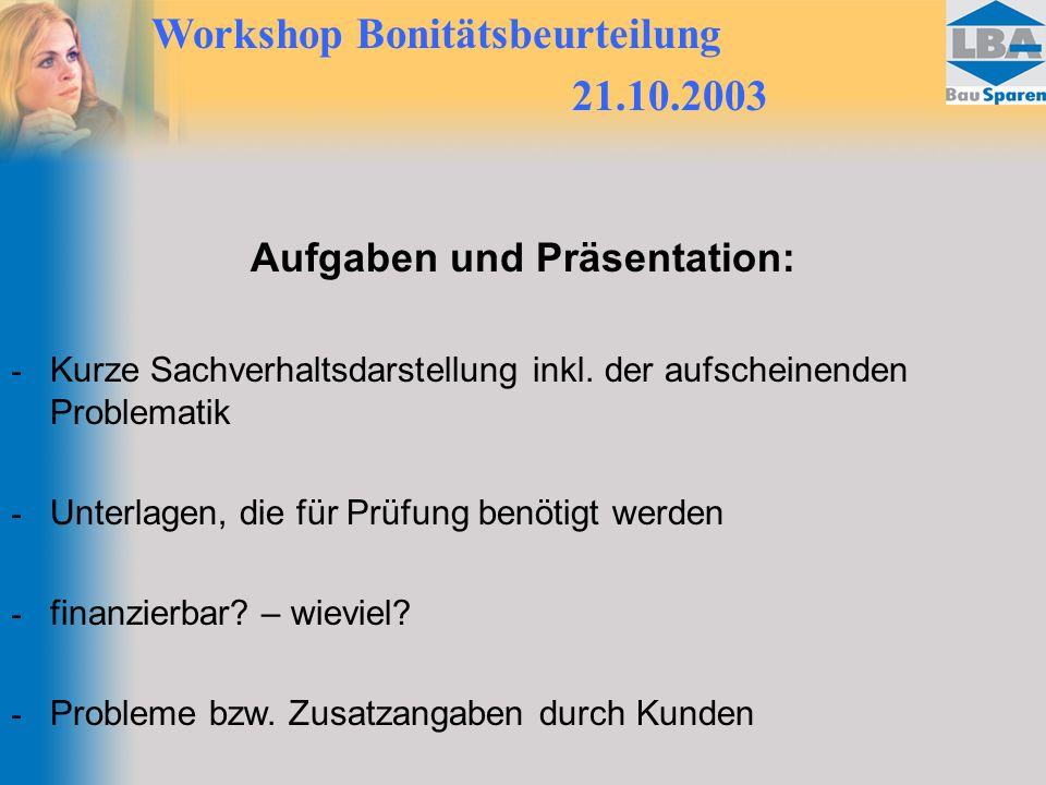 Aufgaben und Präsentation: