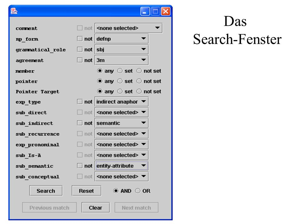 Das Search-Fenster