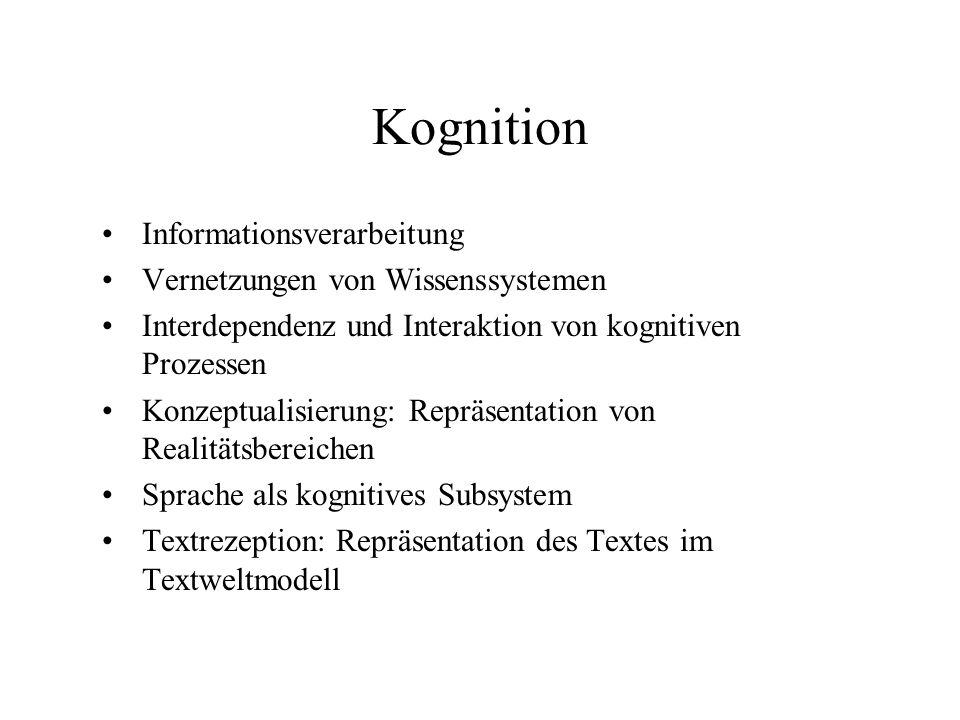 Kognition Informationsverarbeitung Vernetzungen von Wissenssystemen