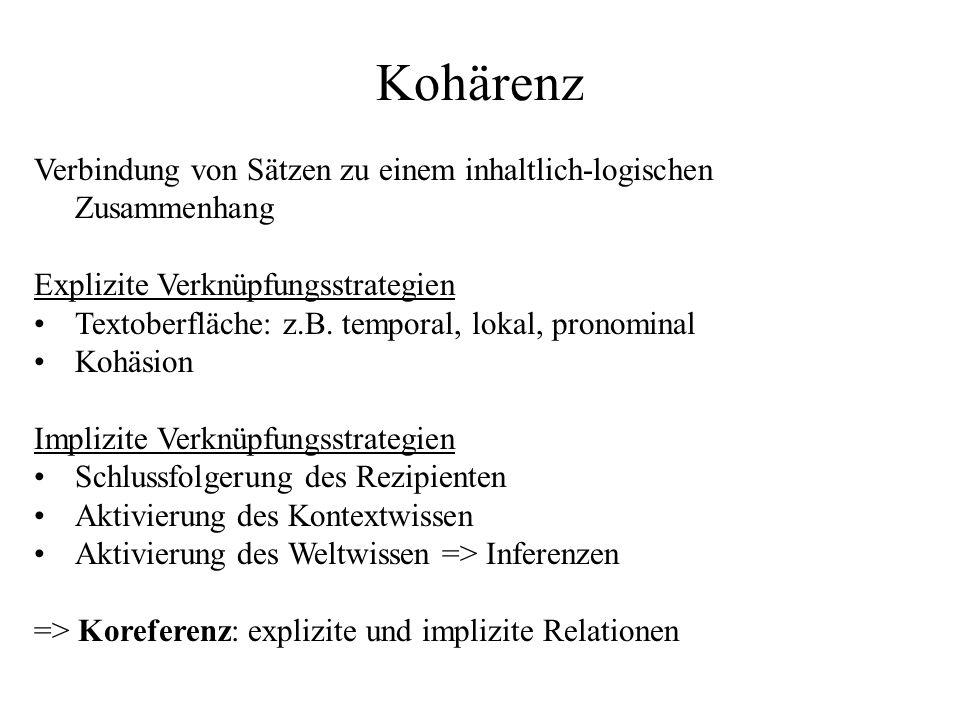 Kohärenz Verbindung von Sätzen zu einem inhaltlich-logischen Zusammenhang. Explizite Verknüpfungsstrategien.