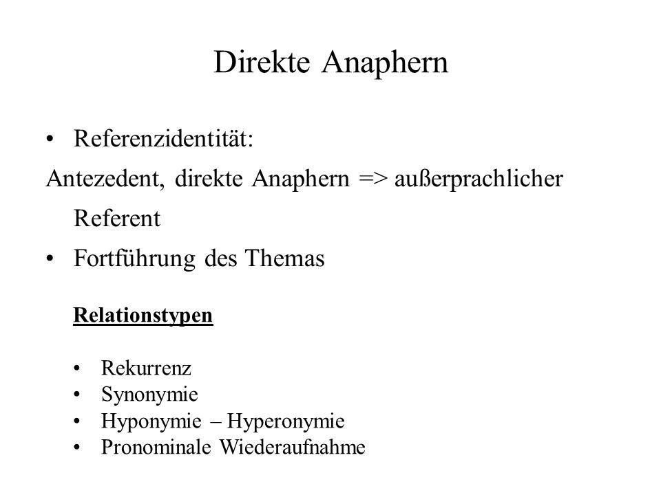 Direkte Anaphern Referenzidentität: