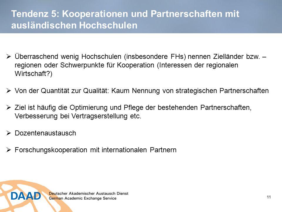 Tendenz 5: Kooperationen und Partnerschaften mit ausländischen Hochschulen