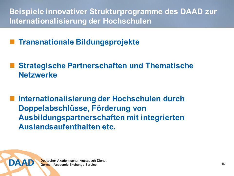 Beispiele innovativer Strukturprogramme des DAAD zur Internationalisierung der Hochschulen