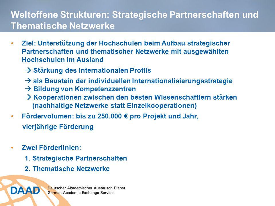 Weltoffene Strukturen: Strategische Partnerschaften und Thematische Netzwerke