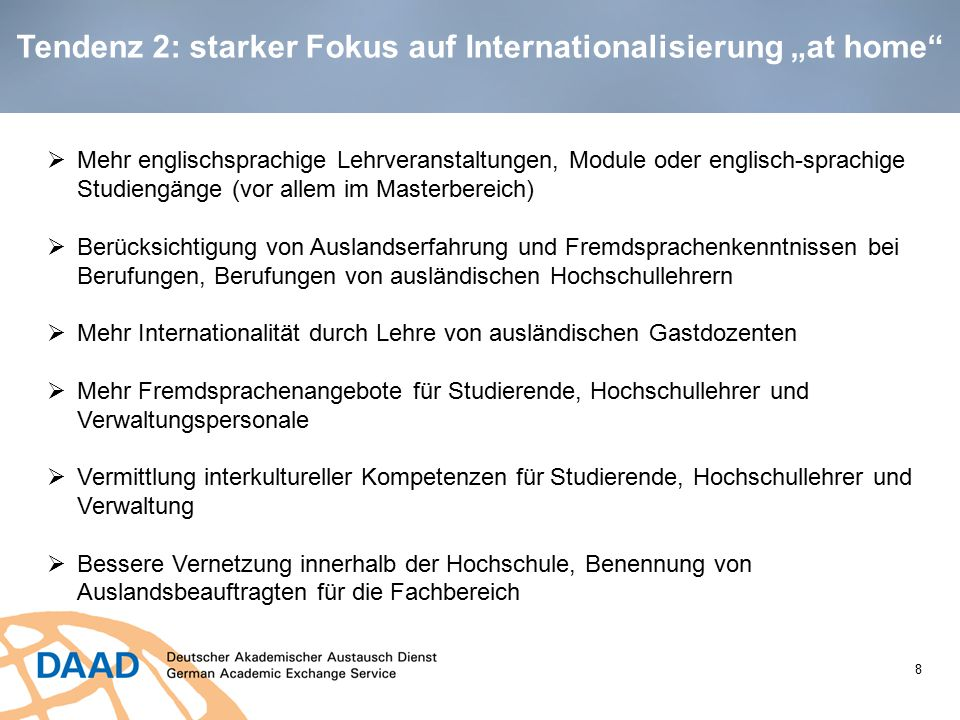 "Tendenz 2: starker Fokus auf Internationalisierung ""at home"