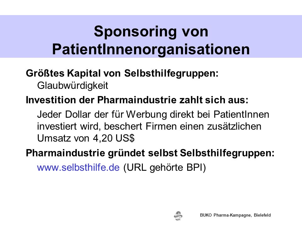 Sponsoring von PatientInnenorganisationen