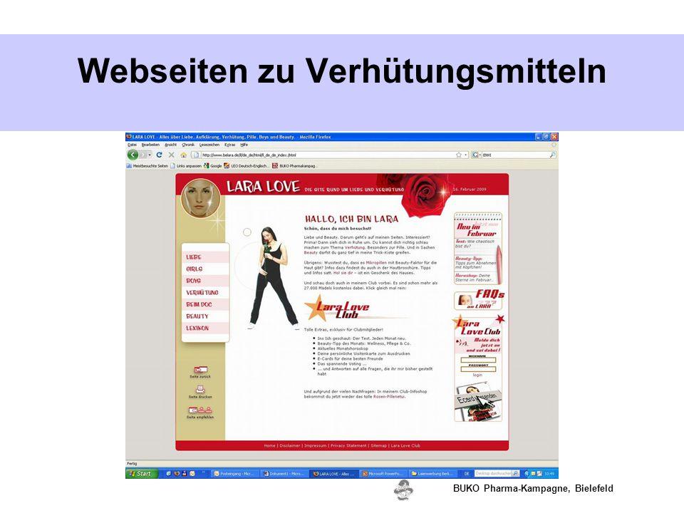 Webseiten zu Verhütungsmitteln