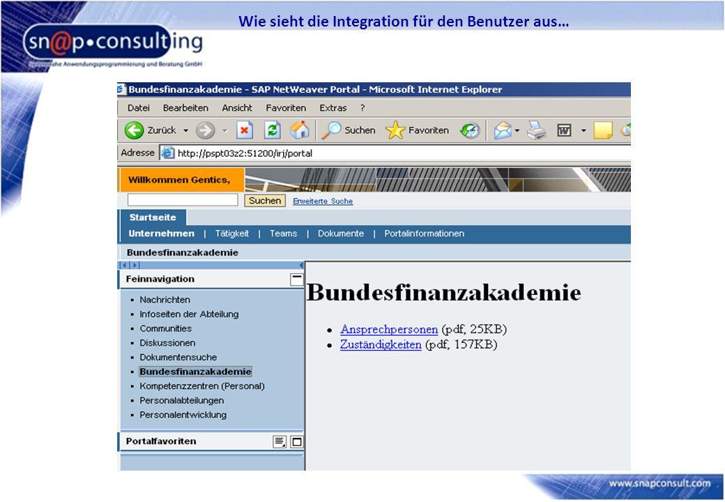 Wie sieht die Integration für den Benutzer aus…