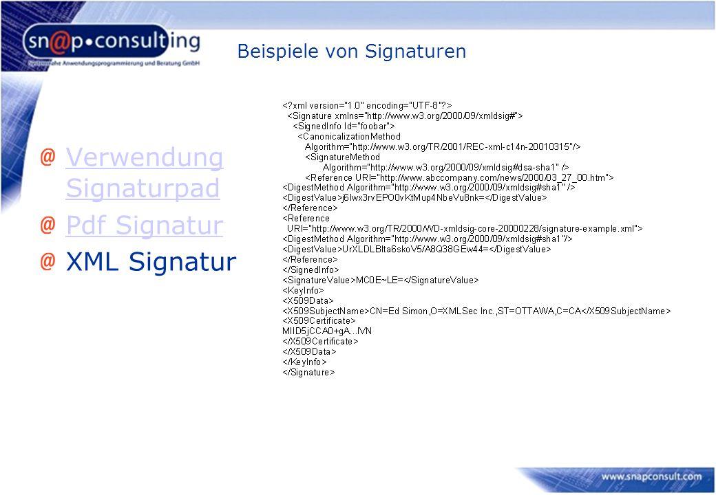 Beispiele von Signaturen