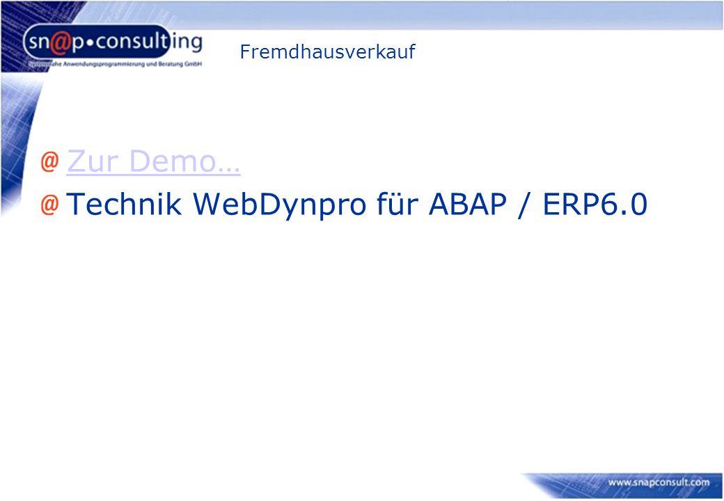 Technik WebDynpro für ABAP / ERP6.0