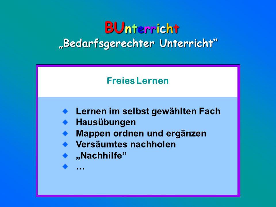 """BUnterricht """"Bedarfsgerechter Unterricht Freies Lernen"""
