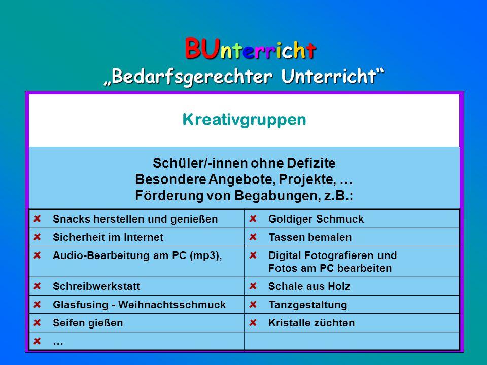 """BUnterricht """"Bedarfsgerechter Unterricht Kreativgruppen"""
