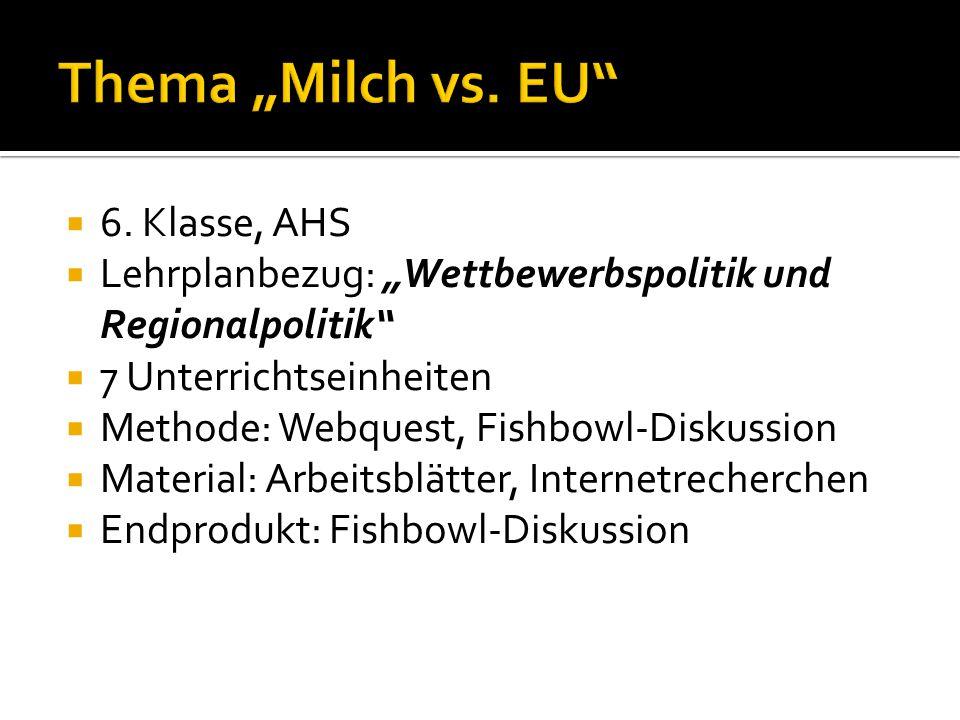 "Thema ""Milch vs. EU 6. Klasse, AHS"