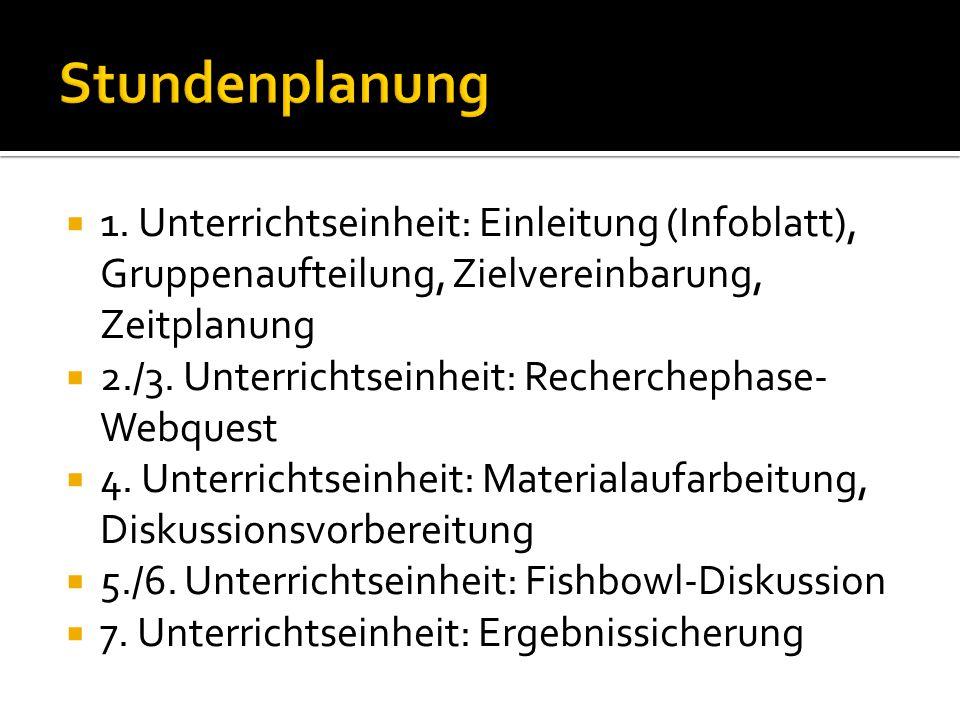 Stundenplanung 1. Unterrichtseinheit: Einleitung (Infoblatt), Gruppenaufteilung, Zielvereinbarung, Zeitplanung.