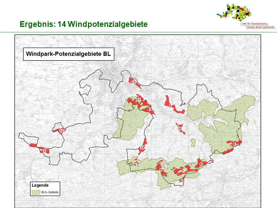Ergebnis: 14 Windpotenzialgebiete