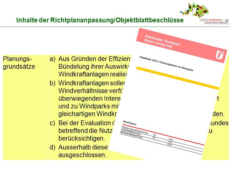 Inhalte der Richtplananpassung/Objektblattbeschlüsse