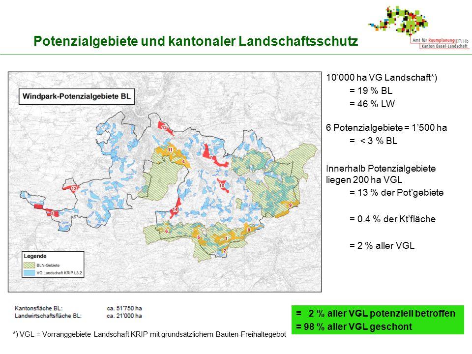 Potenzialgebiete und kantonaler Landschaftsschutz
