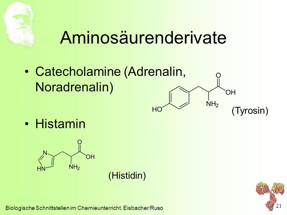 Aminosäurenderivate Catecholamine (Adrenalin, Noradrenalin) Histamin