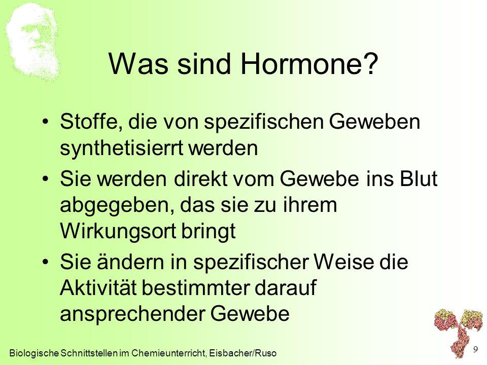 Was sind Hormone Stoffe, die von spezifischen Geweben synthetisierrt werden.