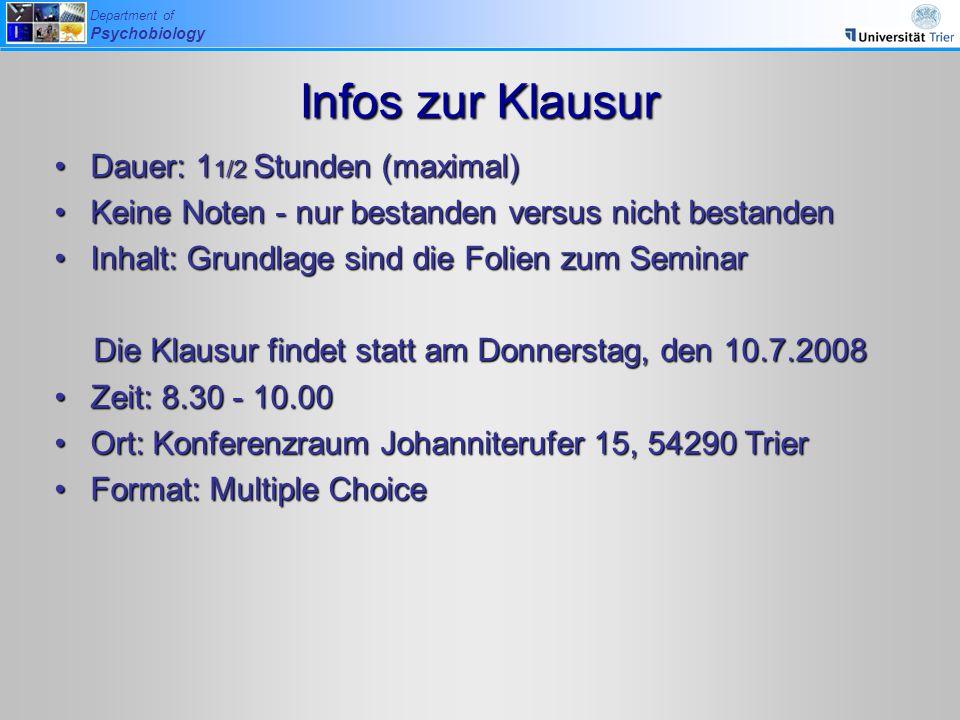 Die Klausur findet statt am Donnerstag, den 10.7.2008