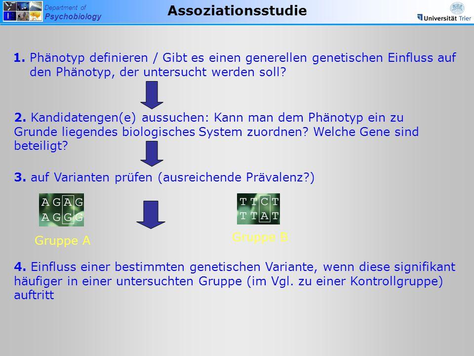 Assoziationsstudie 1. Phänotyp definieren / Gibt es einen generellen genetischen Einfluss auf den Phänotyp, der untersucht werden soll