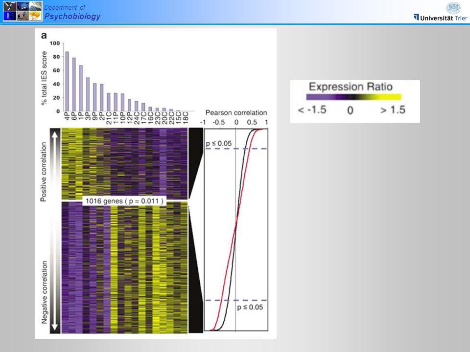ein anderer Analyseschritt: hier wird für die einzelnen Skalen des Fragebogens geschaut, welche Gene sich signifikant nach oben oder nach unten regulieren