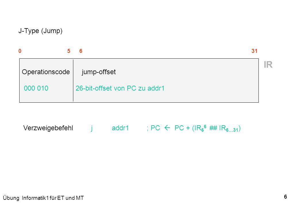 IR J-Type (Jump) Operationscode jump-offset