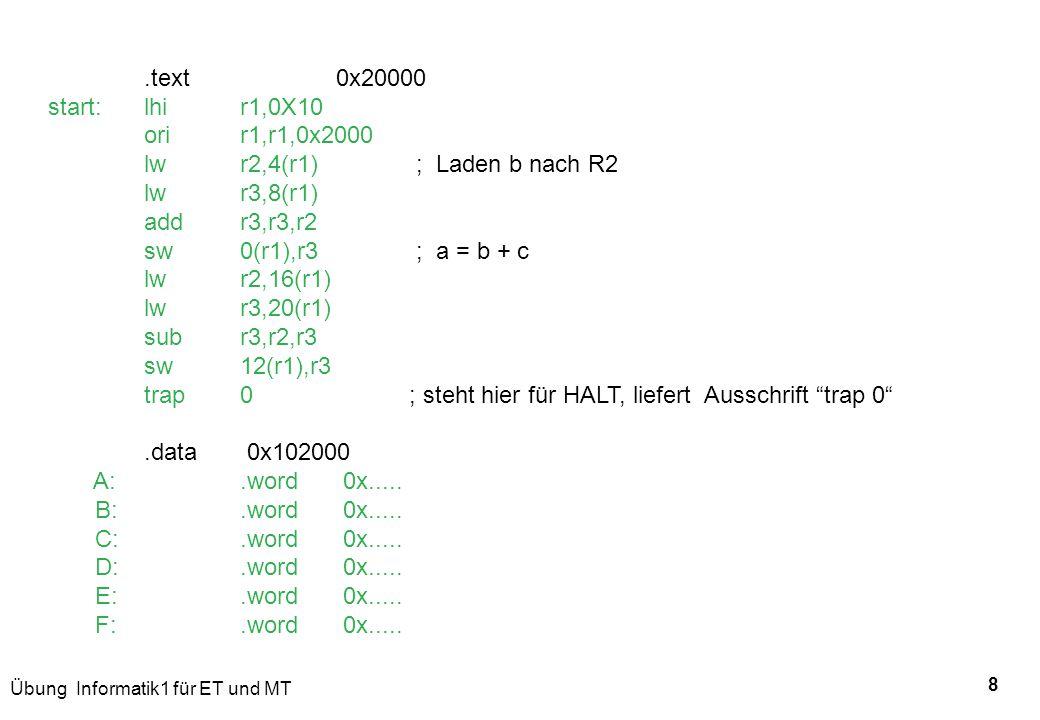 .text 0x20000 start: lhi r1,0X10. ori r1,r1,0x2000. lw r2,4(r1) ; Laden b nach R2.